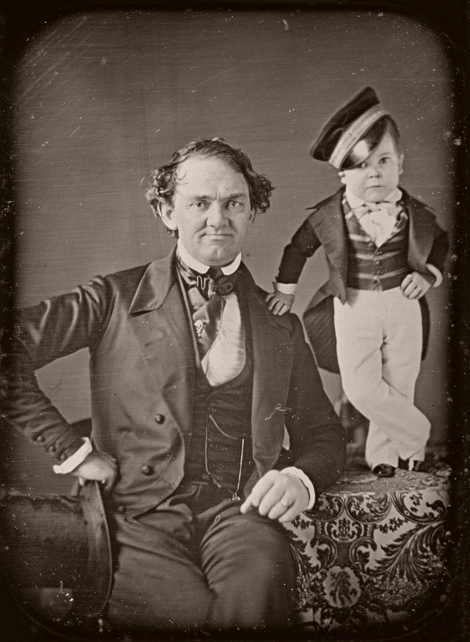P.T. Barnum and General Tom Thumb, Half-plate daguerreotype, circa 1850.