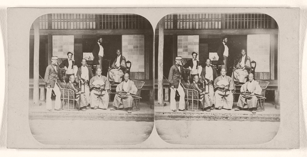 Group of Japanese Officers, with Messrs. Macdonald, Gower, and Fletcher, Attaches to The British Legation, at Jeda, Japan.