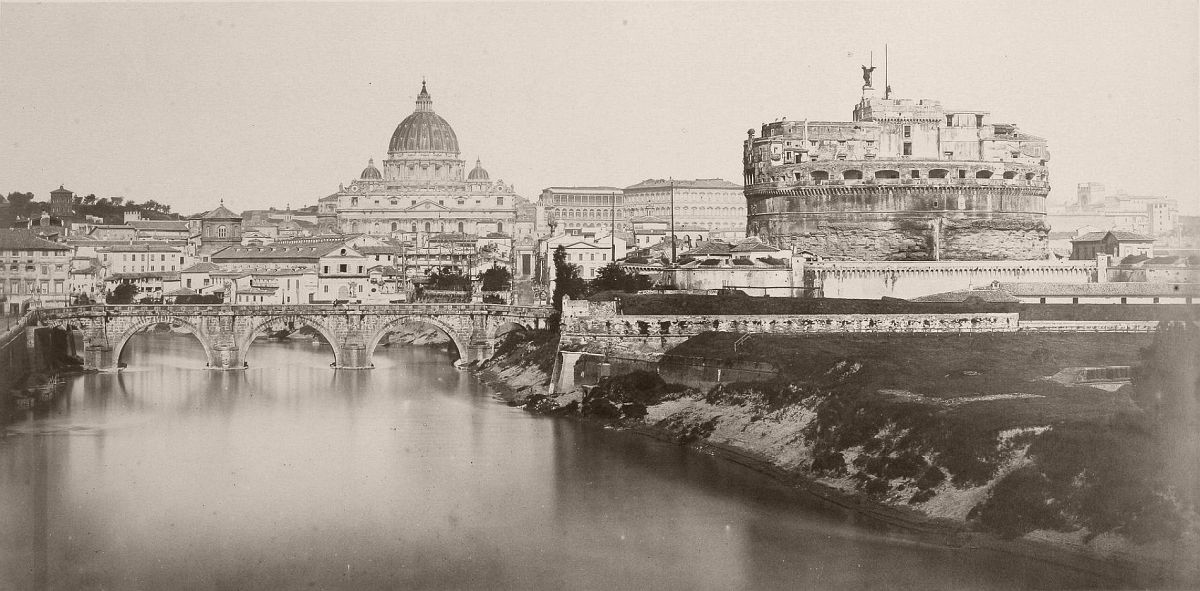Tiber with Castel Sant'Angelo and St. Peter's Basilica, 1860s.