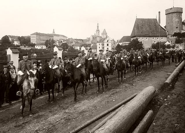 Sokol parrade in the front of Kotnov castle, Tábor, Czech Republic, 1902.
