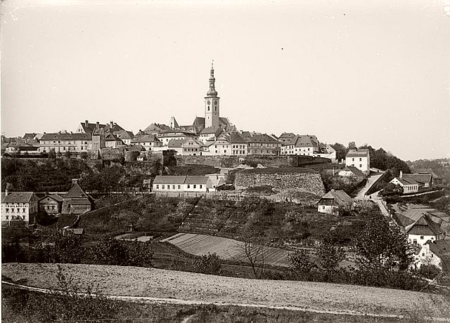 View of city Tábor, Czech Republic, from North at the end of 19th century.