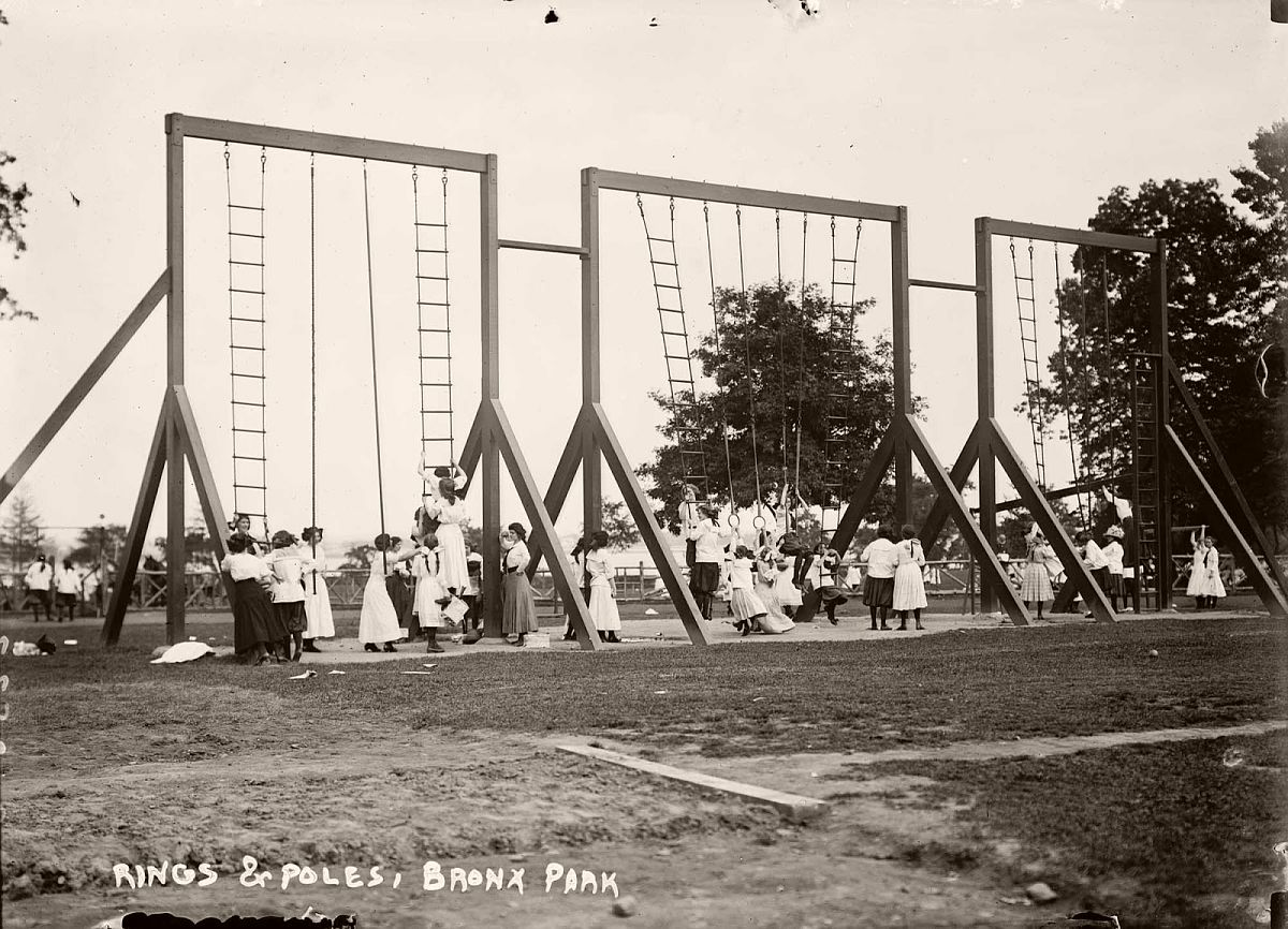 Rings and poles, Bronx Park, New York, 1911.