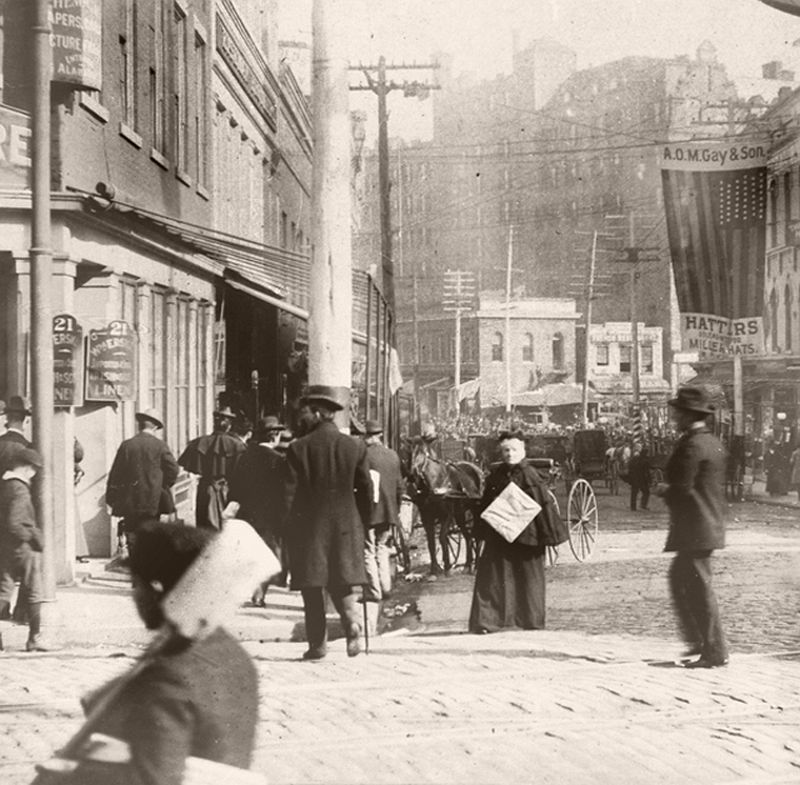 Peachtree (then Whitehall Street) looking toward Wall Street with the Kimball House looming in the background, ca. 1890s