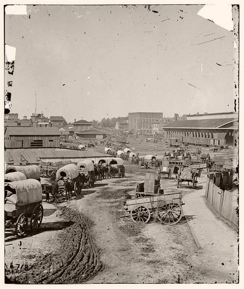Wagon train leaving Atlanta, Georgia, 1864