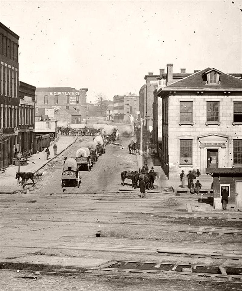Wagon train on Whitehall Street, Atlanta, Georgia, 1864