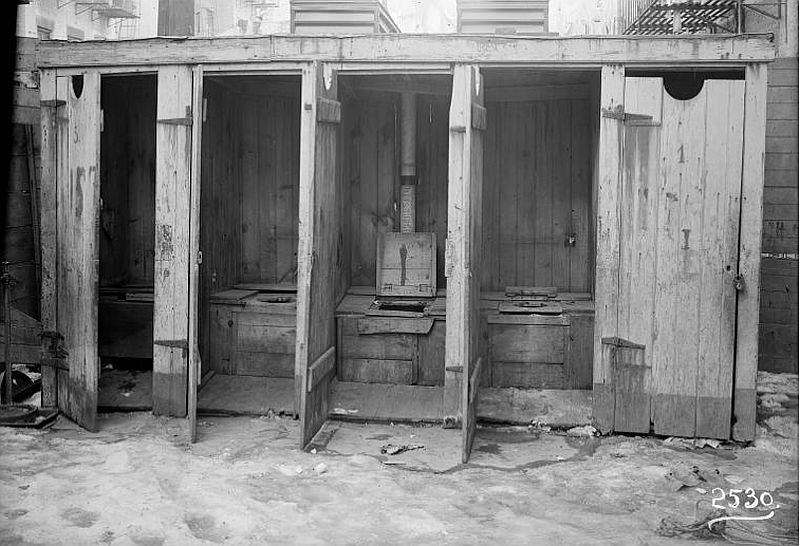"Irma and Paul Milstein Division of United States History, Local History and Genealogy, The New York Public Library. ""Row of outhouses"" The New York Public Library Digital Collections. 1902 – 1914."