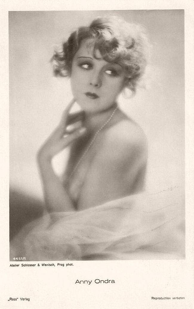 Anny Ondra (1903 - 1987) was a Polish-Czech-Austrian-German-French singer, film and stage actress. During the 1920s and 1930s she was a popular actress in Czech, Austrian and German comedies, and she was Alfred Hitchcock's first 'Blonde'.