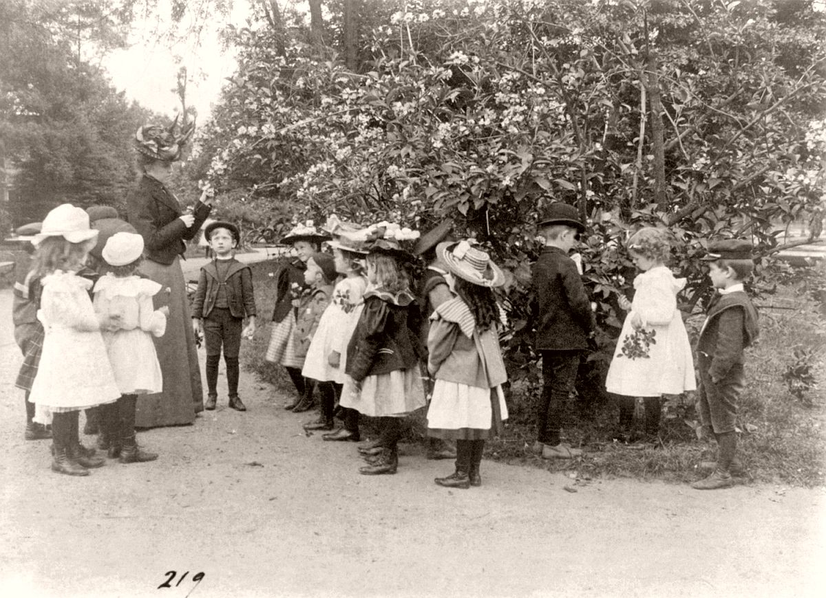 Outdoor class in botany, Washington, DC, ca. 1899