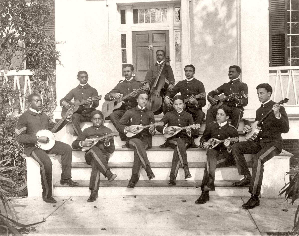 Hampton Institute, Hampton, Va., ca. 1898 - 11 students in uniform playing guitars, banjos, mandolins, and cello