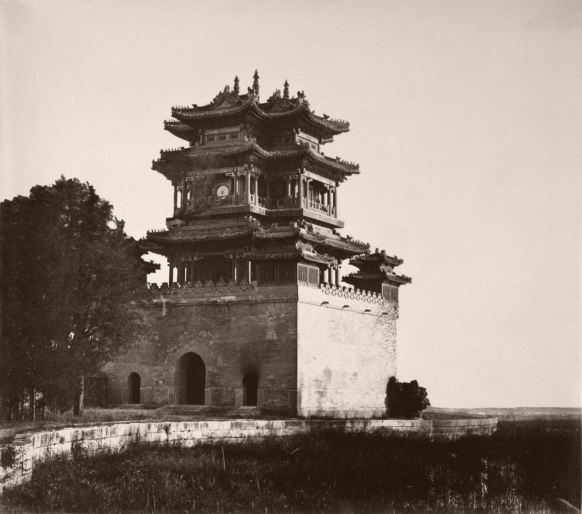 Wenchang Pavilion aka. Wenchang Tower (文昌阁) of the Summer Palace (Yihe Yuan), before being burnt down, October 1860