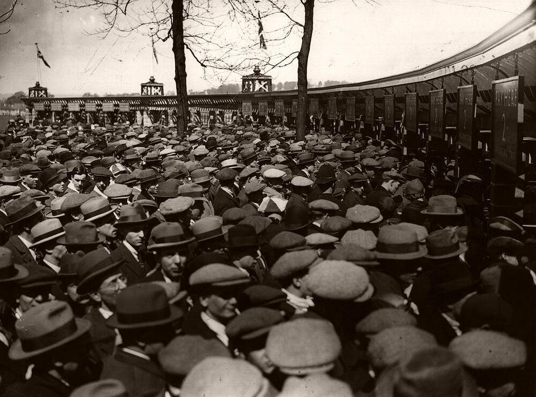 Wembley, 1923, West Ham fans at the turnstiles.