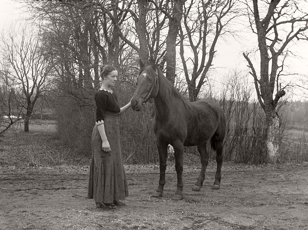 Woman with horse.