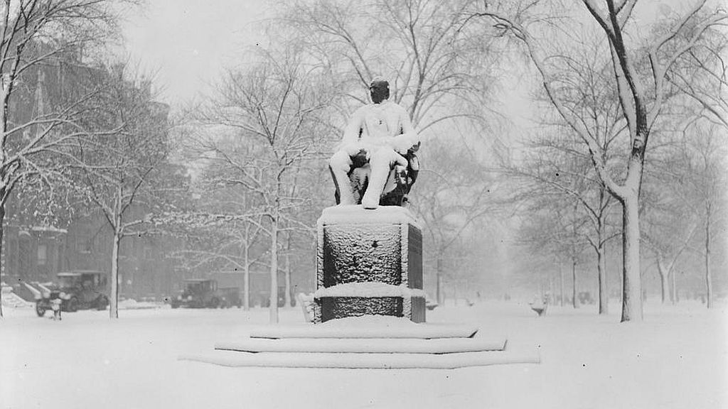 Circa February 1922. Statue of Garrison, Comm. Ave., covered with snow.