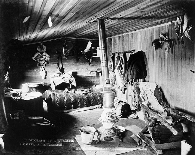'Bachelor's Hall', interior view of a bunkhouse on a Southern Alberta ranch, 1894
