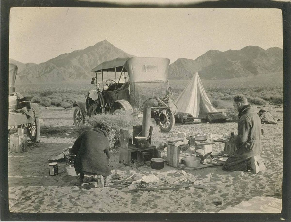 A camp site on the desert.