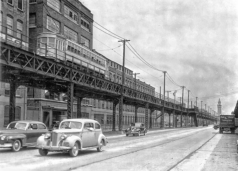 Neumann Leather Co. and the elevated tracks on Observer Highway in Hoboken, NJ. ca. 1940s.