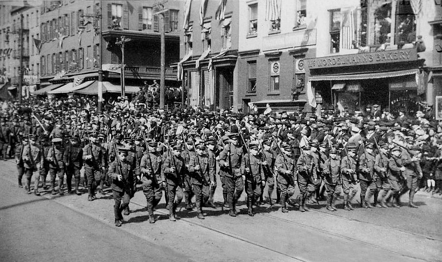 Cadets marching on Washington St. in Hoboken, NJ, ca. 1914-18