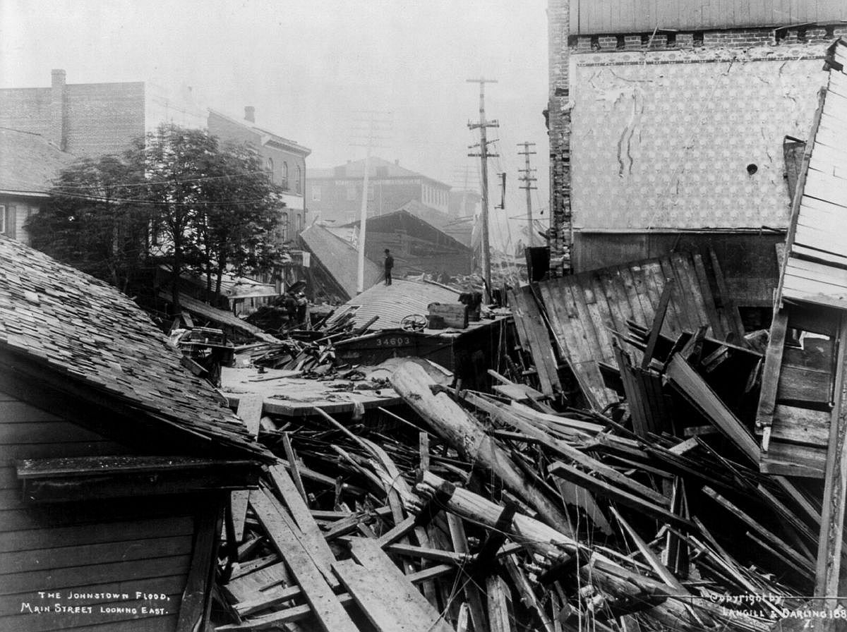 Johnstown's Main Street is choked with debris.  Image: Library of Congress