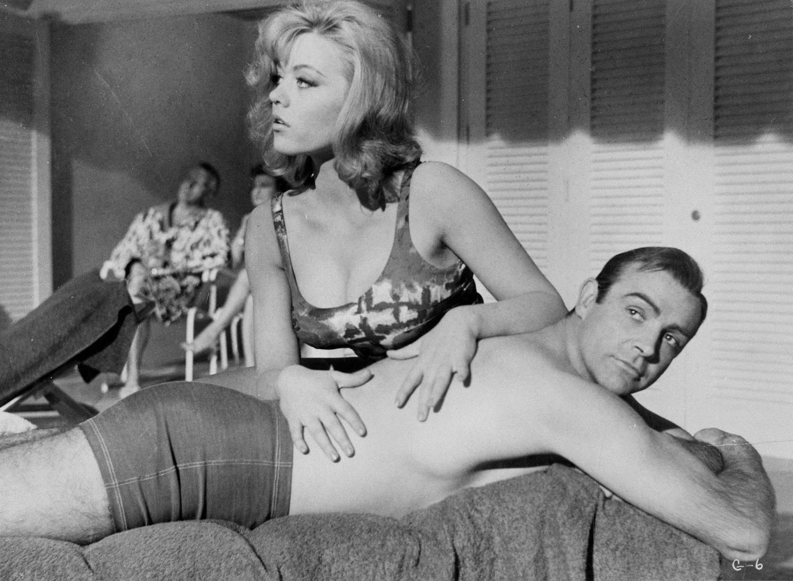 Margaret Nolan appears in the film as Dink, the woman massaging Bond's back in the Fontainebleu Hotel pool scene.
