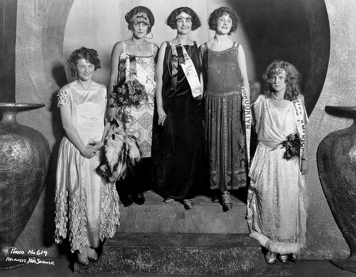 1923 - Gorman, far right, stands with other Miss America contestants. Mary Campbell, far left, won the title for the second consecutive year.