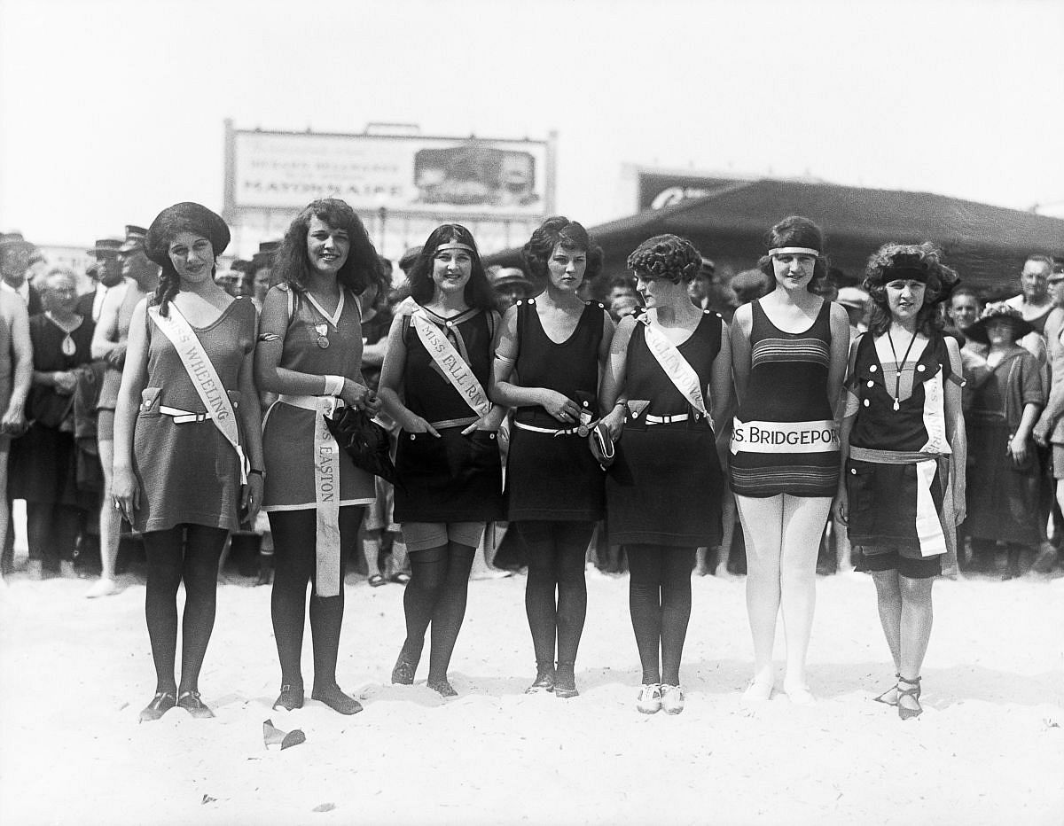 "Sept. 9, 1922 - Gorman, far right, poses in swimwear, with Mary Dague as ""Miss Wheeling,"" Dorothy Haupt as ""Miss Easton,"" Helen Lynch as ""Miss Fall River,"" Ellen E. Sherr as ""Miss Allentown,"" and Paula E. Spoettle as ""Miss Bridgeport."""