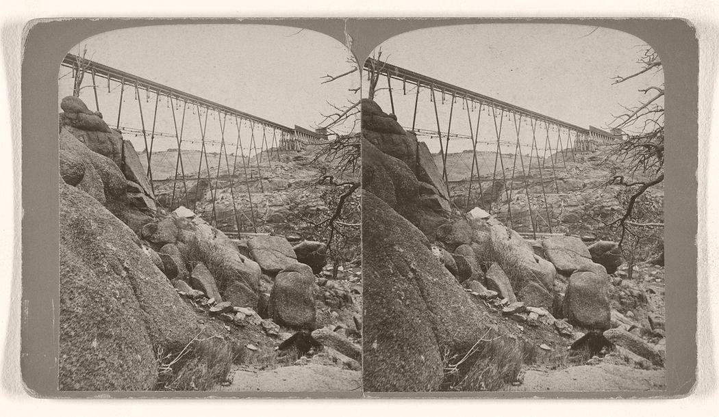 Dale Creek Iron Viaduct, 132 feet high, 660 feet long, Union Pacific Railroad. 1870s.