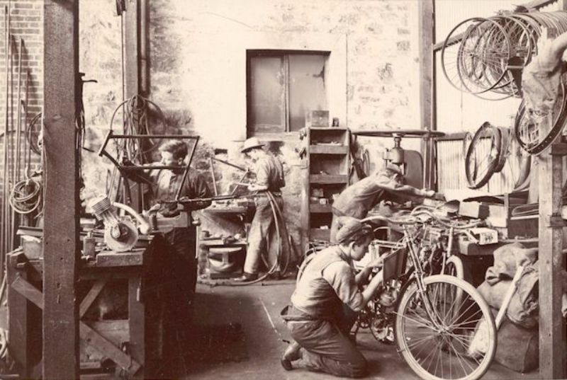 Motorcycle repairs and manufacture inside the McHenry Street workshop, c1904