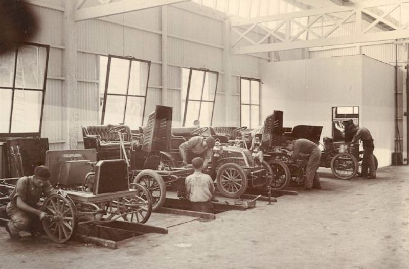 Cars in the Molton Street works, c1905