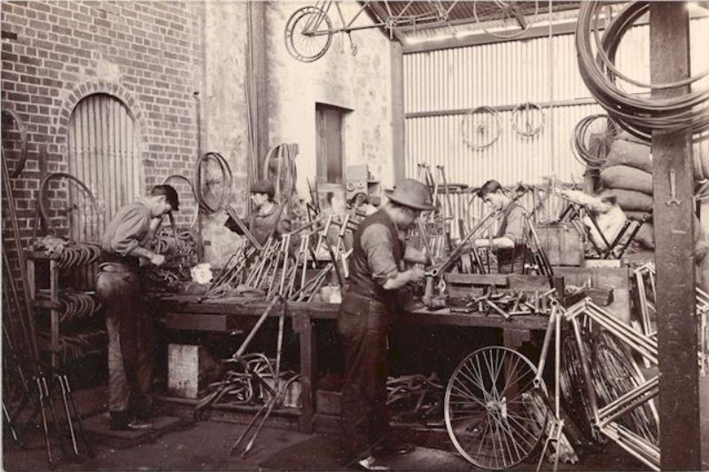 The bicycle frame erecting area in the McHenry Street works, c1904