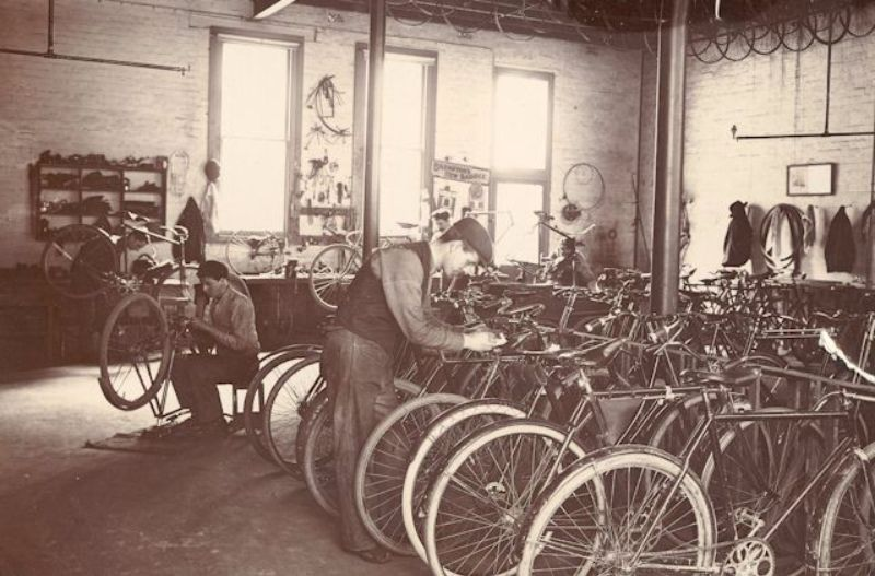 Bicycle repair shop, Gawler Place, c1904