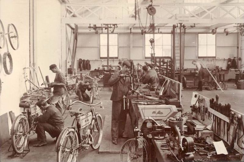 Motorcycle repair and manufacture in the new workshop, c1905-6
