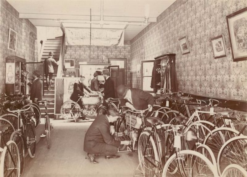 Bicycles and motorcycles in the Gawler Place showroom c1904
