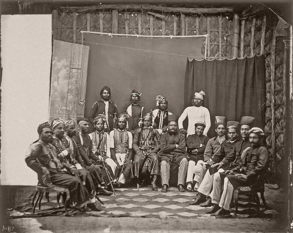 Group portrait of noteworthy men and visitors, in the Royal Palace of Jaipur, India, 1857–1865. (Photo by Maharaja Ram Singh III/Alinari via Getty Images)