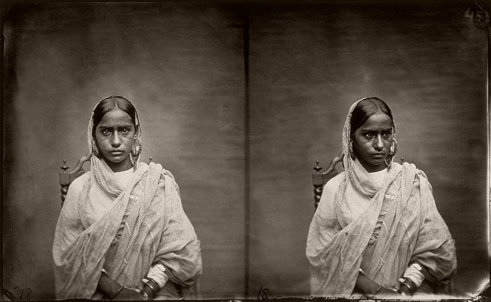 Double portrait of a woman in the harem of the royal palace of Jaipur, India, 1857–1865. (Photo by Maharaja Ram Singh III/Alinari via Getty Images)