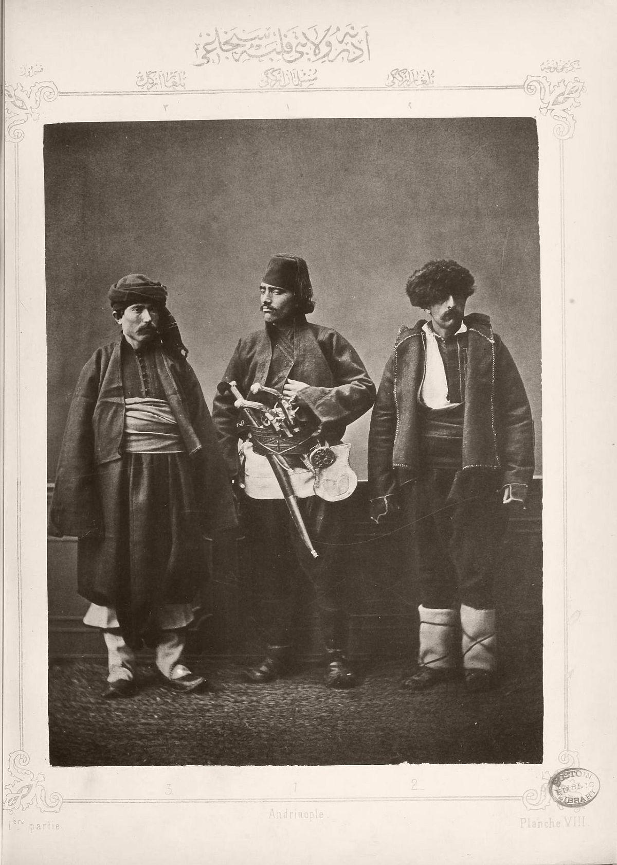 1. Muslim horseman from Plovdiv 2. Bulgarian woman from Koyountepe 3. Bulgarian woman from Ah'i Tchelebi