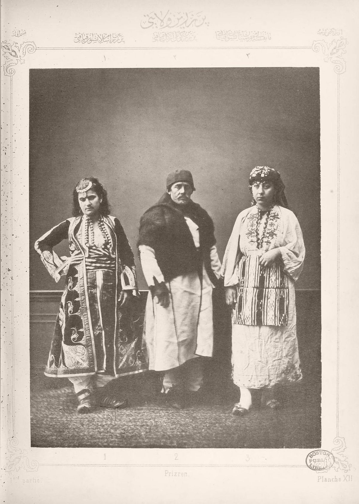 1: Muslim woman from Prizren 2. Farmers from around Prizren 3. Christian peasant woman from Matefse