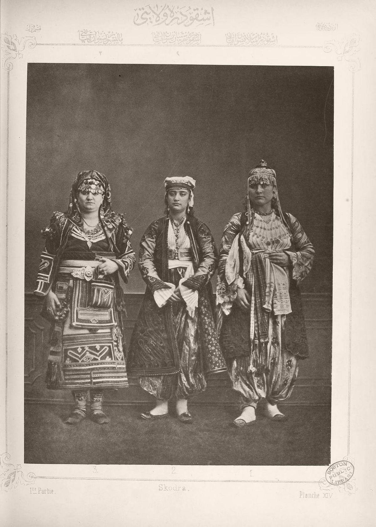 1: Muslim lady from Shkodër 2. Christian lady from Shkodër 3. Peasant woman from Malissor
