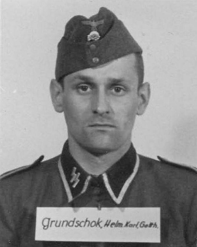 Helmut Grundschok, former apprentice plumber. Joined the SS in 1939 and rose to the rank of Unterscharführer (Junior Squad Leader).