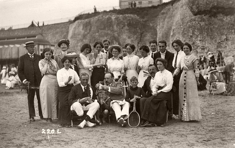 Edwardian group on the beach
