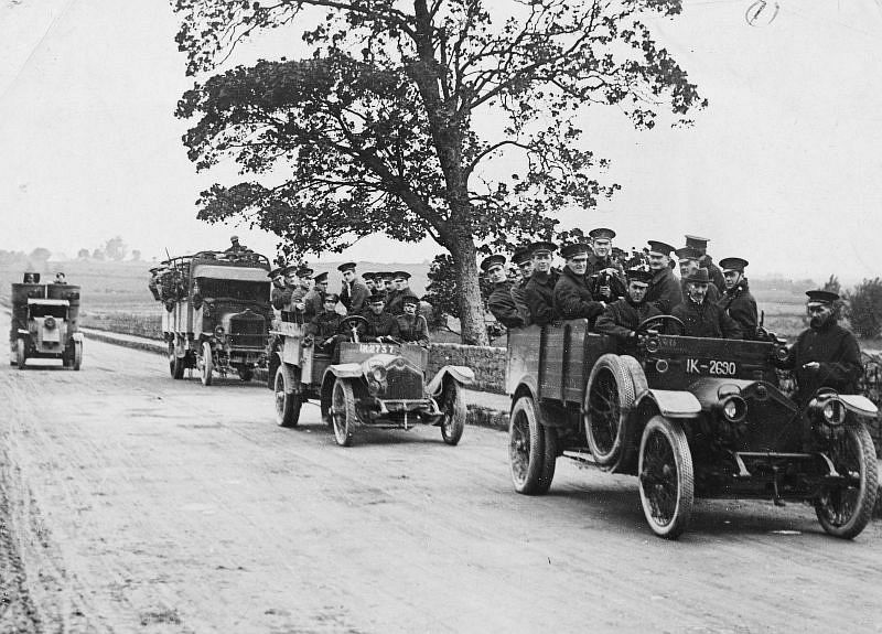 R.I.C. military and armoured car leaving Limerick on a scouting expedition, 1920