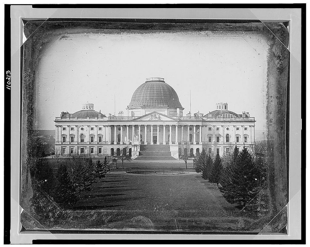 The United States Capitol, photographed by John Plumbe, Jr., in 1846 (note the early Charles Bulfinch dome) (via Library of Congress)
