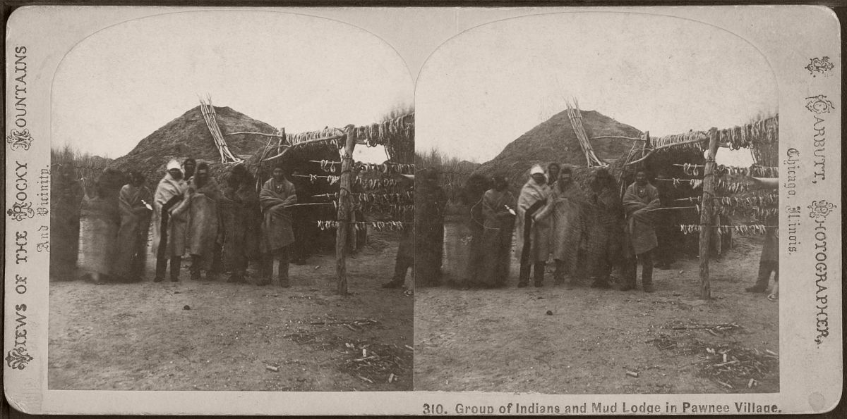 Group of Indians and mud lodge in Pawnee village, by Carbutt, John, 1832-1905