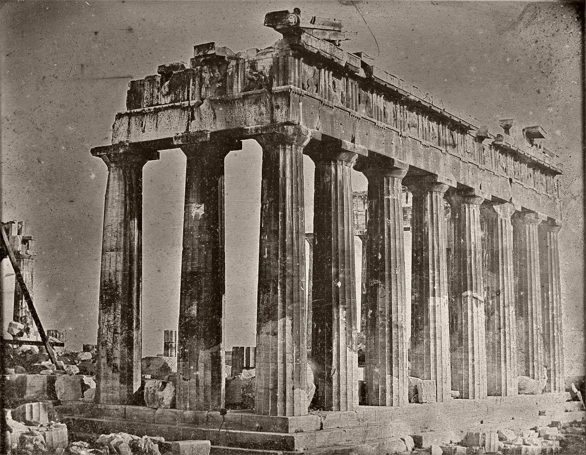 Joseph-Philibert Girault de Prangey (French - Facade and North Colonnade of the Parthenon on the Acropolis, Athens, 1842