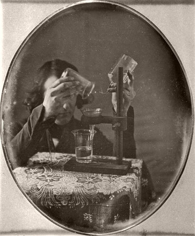 Portrait of Martin Hans Boyè during experiments, 1843.