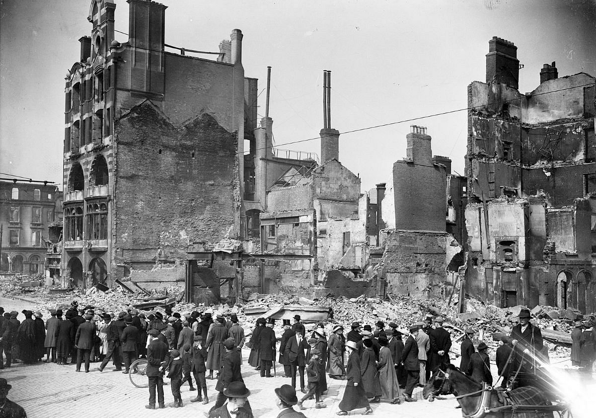 The remains of the Dublin Bread Company at 6-7 Lower Sackville Street (now O'Connell Street) after the Easter Rising in 1916.