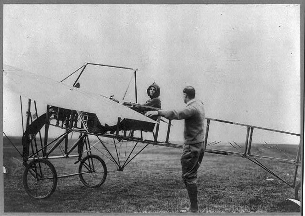 Harriet in the cockpit of her plane in the USA, 1911.