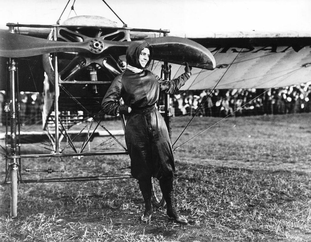 Harriet Quimby in front of the Bleriot when she became the first woman to fly across the English Channel