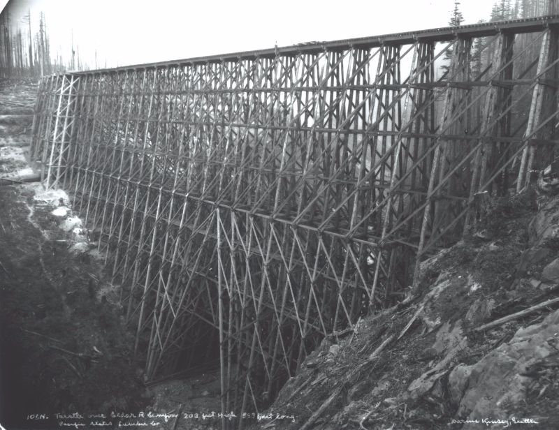 A 203-foot high wall of wood — the Cedar River Logging Trestle in Washington State.