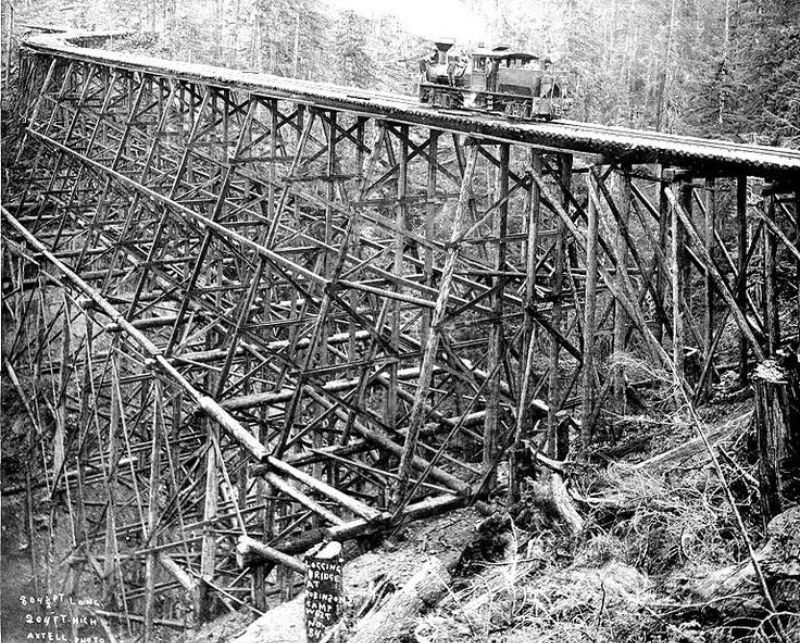 Trestle and logging railroad at Robinson's camp, Clallam County, Washington.