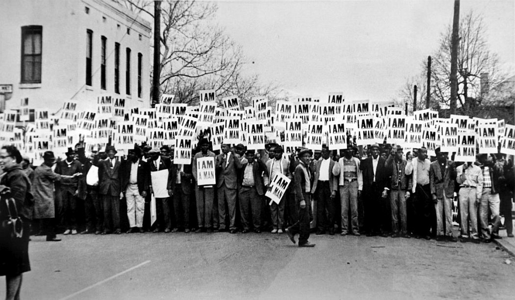 Ernest C. Withers, American, 1922 – 2007, I Am A Man, Sanitation Workers Strike, Memphis, March 28. 1968, Gelatin silver print, printed from original negative in 1999, Memphis Brooks Museum of Art purchase with funds provided by Ernest and Dorothy Withers, Panopticon Gallery, Inc., Waltham, MA, Landon and Carol Butler, The Deupree Family Foundation, and The Turley Foundation  2005.3.33 © Withers Family Trust